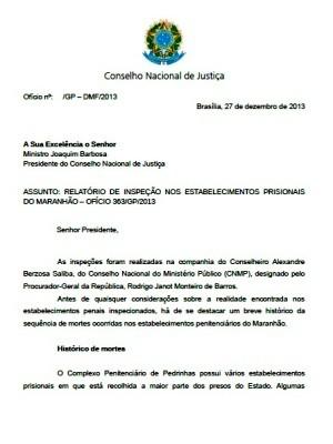 Capa do relatório enviado ao CNJ nesta sexta-feira (27) (Foto: Divulgação)