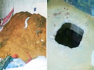 Túnel por onde fugiram 13 presos de Pedrinhas
