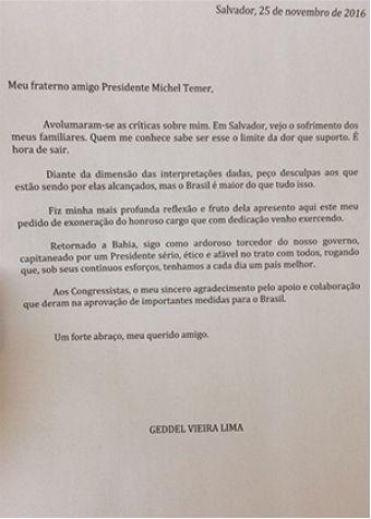 Carta de demissão de Geddel Vieira Lima - Reprodução